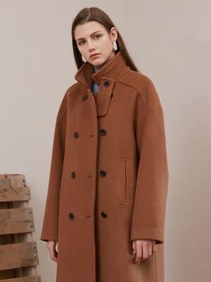 DOUBLE HIGH-NECK COAT_CAMEL