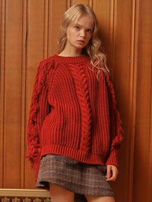 FRINGE SLEEVE KNIT_RED