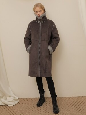 ZIPPER LONG MUSTANG COAT_GRAY