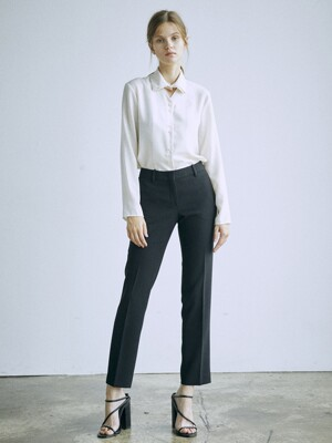 [Drama Signature] Slim Straight Trousers_BLACK
