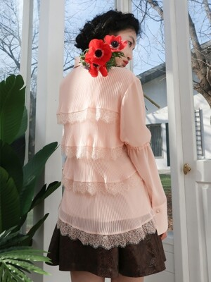 cancan lace blouse_salmon pink