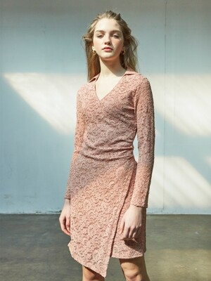 Lace Shirring Dress_ Pink