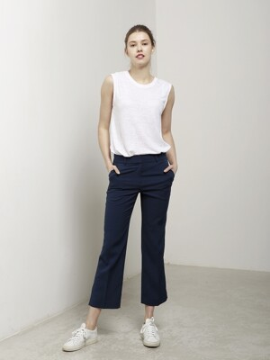 Slit Pants -Navy, White