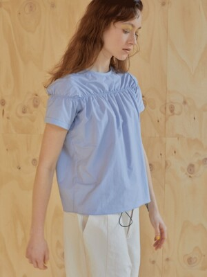 19ss - Shirring blouse - zen blue
