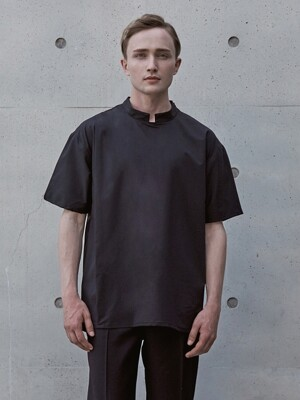 WS#12 STAND COLLAR WOVEN TEE - BLACK