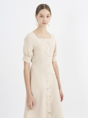 square neck dress_beige