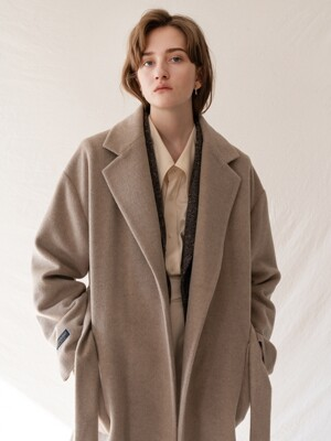FW19 raccoon blended wool coat lightbeige