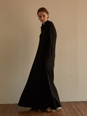PAIX JERSEY LONG DRESS BLACK WOOL TENCEL SOLID