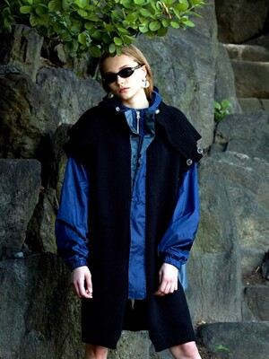 UL:KIN COLLECTION LABEL_HYBRID KNIT TRACK JACKET_BLACK&NAVY