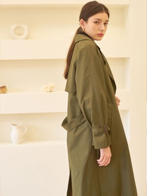 DOUBLE TRENCH COAT KHAKI