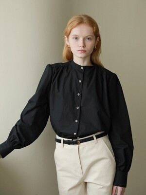 Ann Button-up Blouse in Black