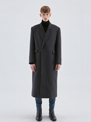 WOOL OVERSIZE CHECK COAT_BLACK