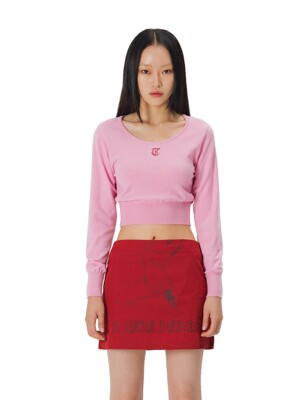 C RHINESTONE CROPPED KNIT TOP_PINK