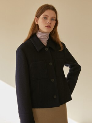 19W WOOL POCKET SHORT COAT (NAVY)