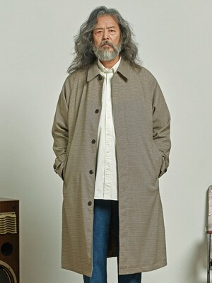 Oversized balmacaan coat _ houndtooth