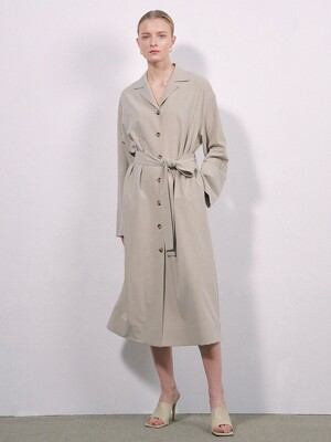WOOL BELTED DRESS COAT - BEIGE