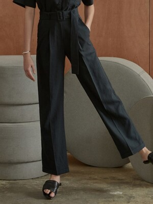 ouie355 linen belt wide slacks (deepnavy)