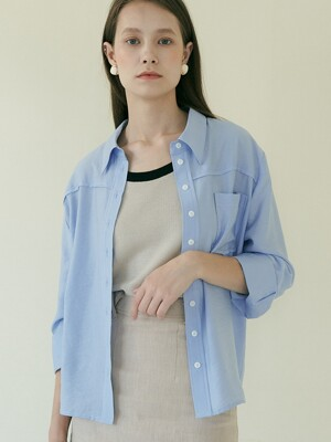 comos'392 out stitch shirt (blue)