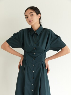 Tucked Collar Dress_Turquoise(Solid)
