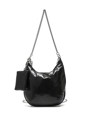 PUFF CHAIN BAG, BLACK