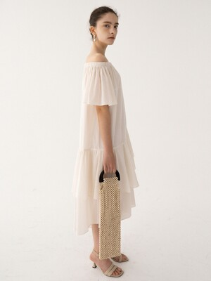 SS21 Off-shoulder Dress Bone-white