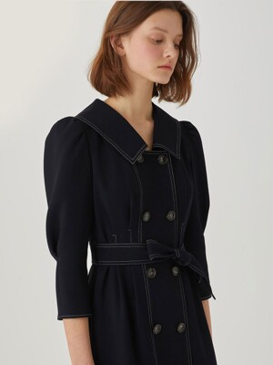 Double Button Belted Dress [NAVY] JYDR1B906N3