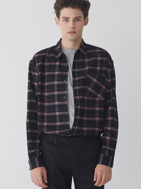 M#1637 tartan black check shirt (red)