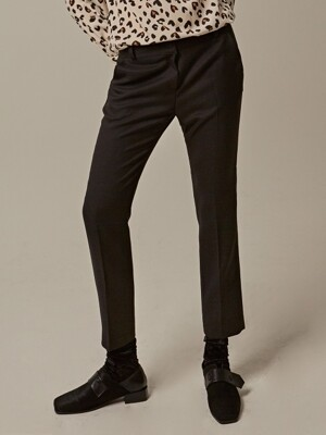 COMB PATTERN SLIM SLACKS_BLACK