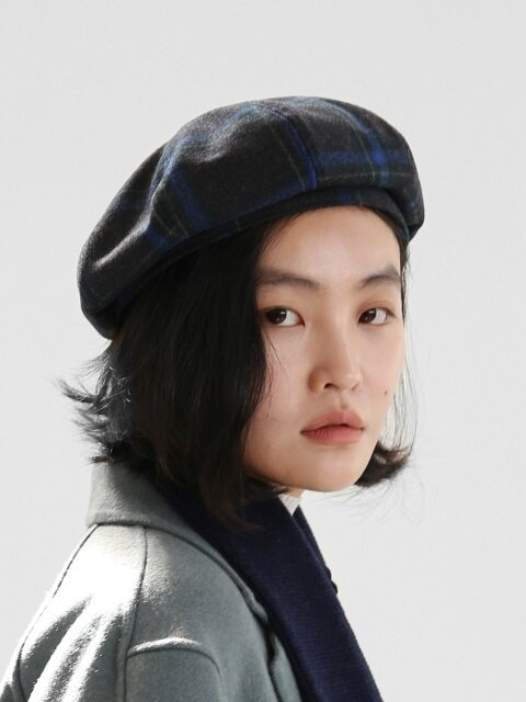 [단독]BREAD BERET / WOOL CHECK / NIGHT CHARCOAL
