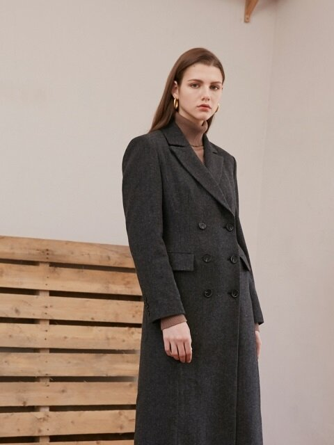 SLIM LINE LONG COAT_HERRINGBONE GRAY