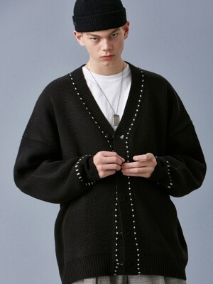 V546 STITCH OVERSIZE KNIT CARDIGAN_BLACK