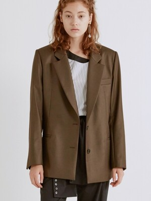 LACE-UP DETAILED JACKET (BROWN)