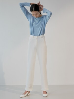 19S COTTON LINE PANTS (WHITE)