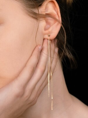 Double DNA `drop` Chain Earring