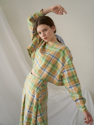 round crop blouse_yellow check