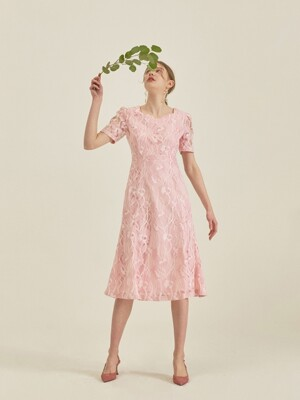 PRINCESS LINE LACE DRESS_LIGHT PINK