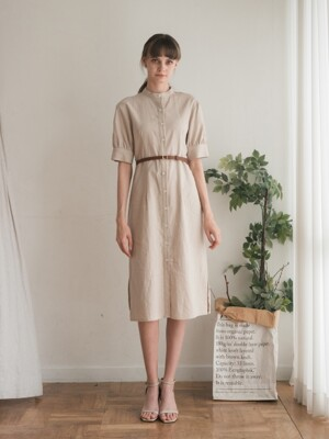 Dole Linen Henley neck Dress (3color)