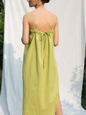 Linen String Dress - Lime