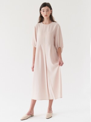 shirring sleeve dress-beige