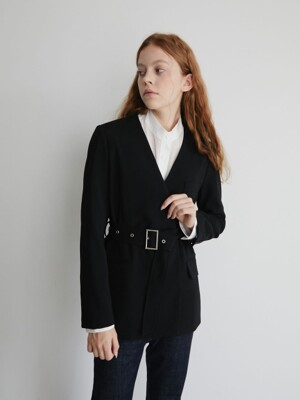 19' FALL_Black Double-Breasted Blazer