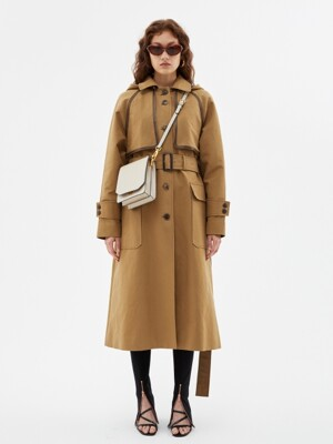 MATTY DETACHABLE HOODIE TRENCH COAT awa210w(SAND BEIGE)