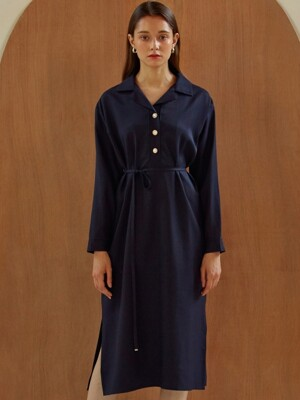 [By Joorti] J279 Pearl-button shirt onepiece (navy)