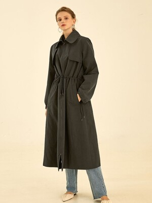 Latte string trench coat[navy]