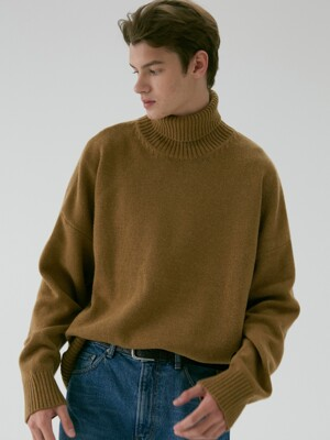 UNISEX OVERSIZED TURTLENECK WOOL SWEATER OLIVE BROWN UDSW9F111W2