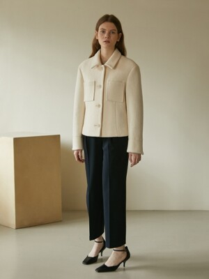 19W WOOL POCKET SHORT COAT (IVORY)