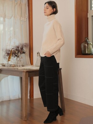 BASIC TURTLENECK WOOL KNIT_IVORY