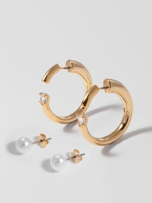 [1+1] PEARL MIX HOOP EARRING SET
