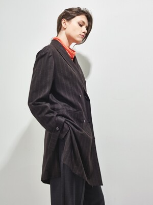 CUPOLA MANNISH WOOL JACKET_CHOCOLATE BROWN