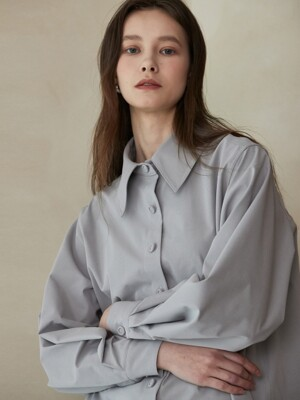 ouie250 wide collar blouse (gray)