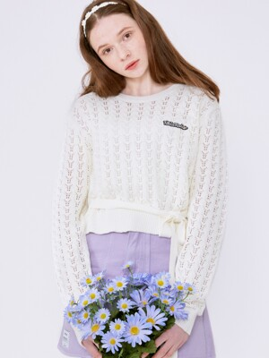 (KT-20133) RIBBON CROCHET KNIT PULLOVER WHITE